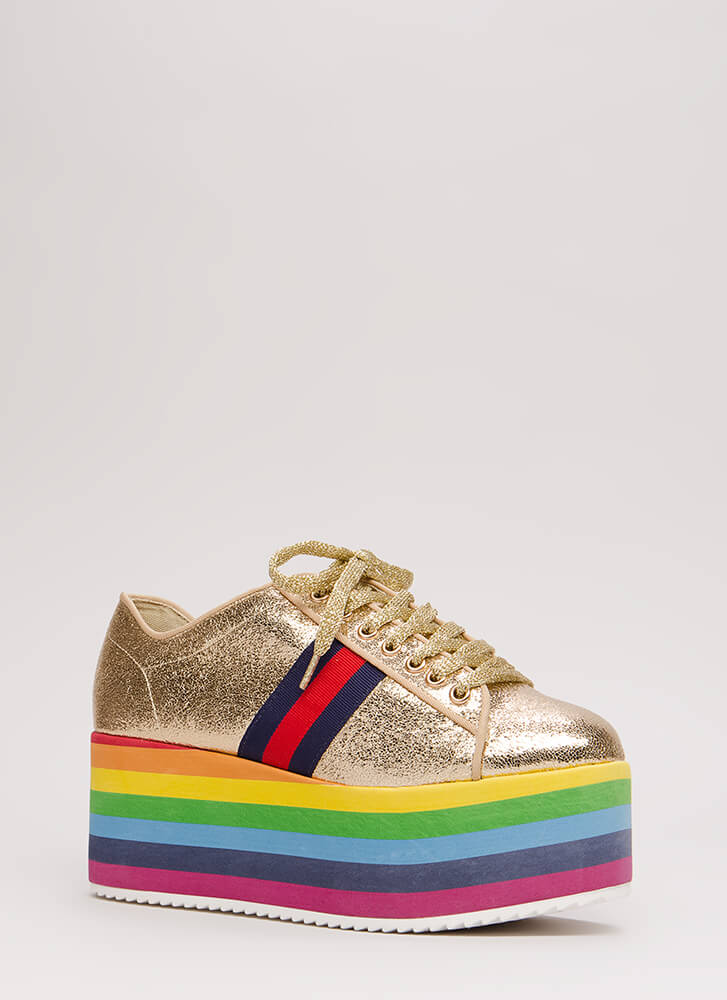 Step Way Up Rainbow Platform Sneakers GOLD