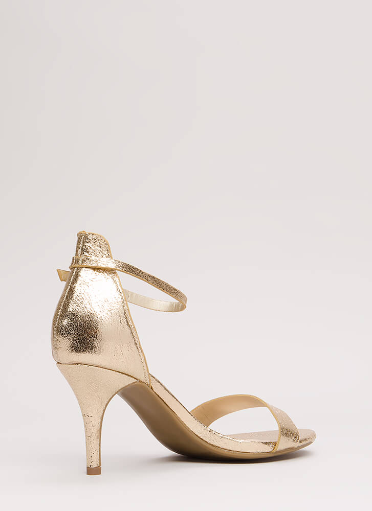 A Shining Strappy Crackled Foiled Heels GOLD