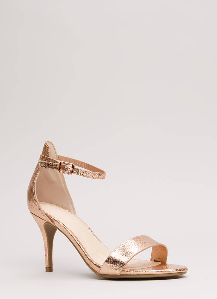 A Shining Strappy Crackled Foiled Heels ROSEGOLD