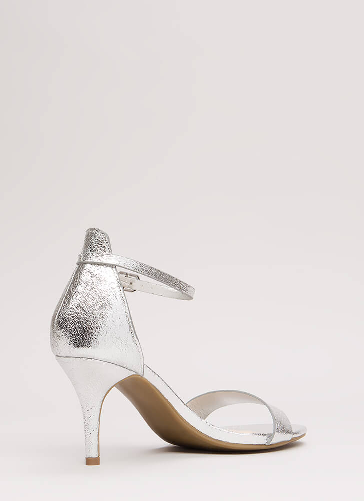 A Shining Strappy Crackled Foiled Heels SILVER