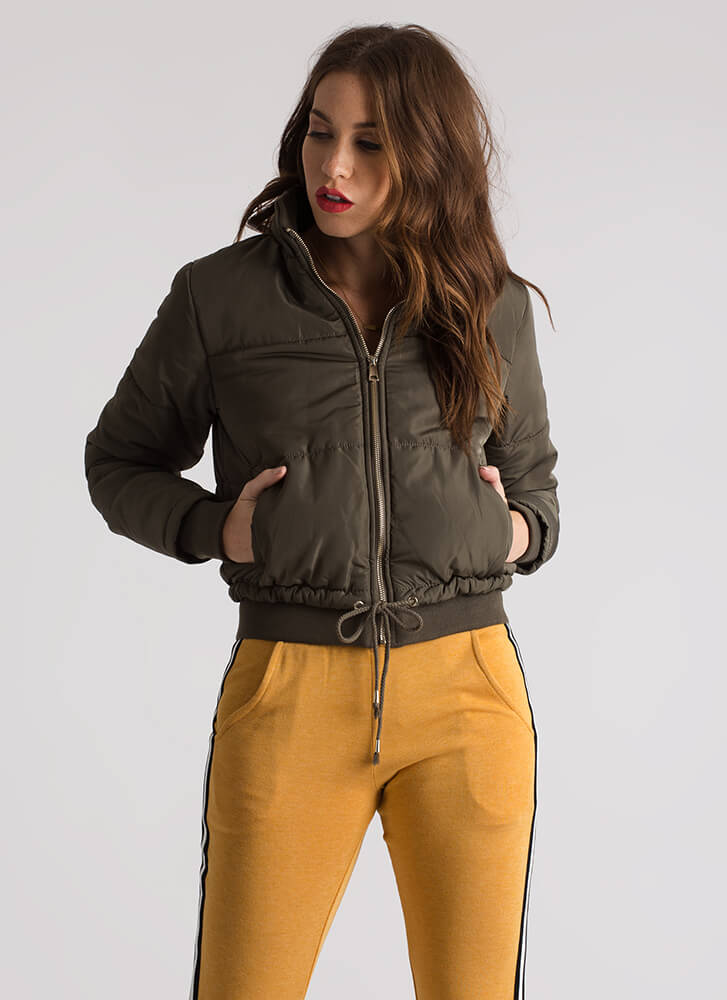 Cool And Warm Puffy Drawstring Jacket OLIVE