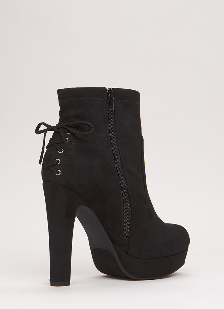 In The Rear Lace-Back Platform Booties BLACK