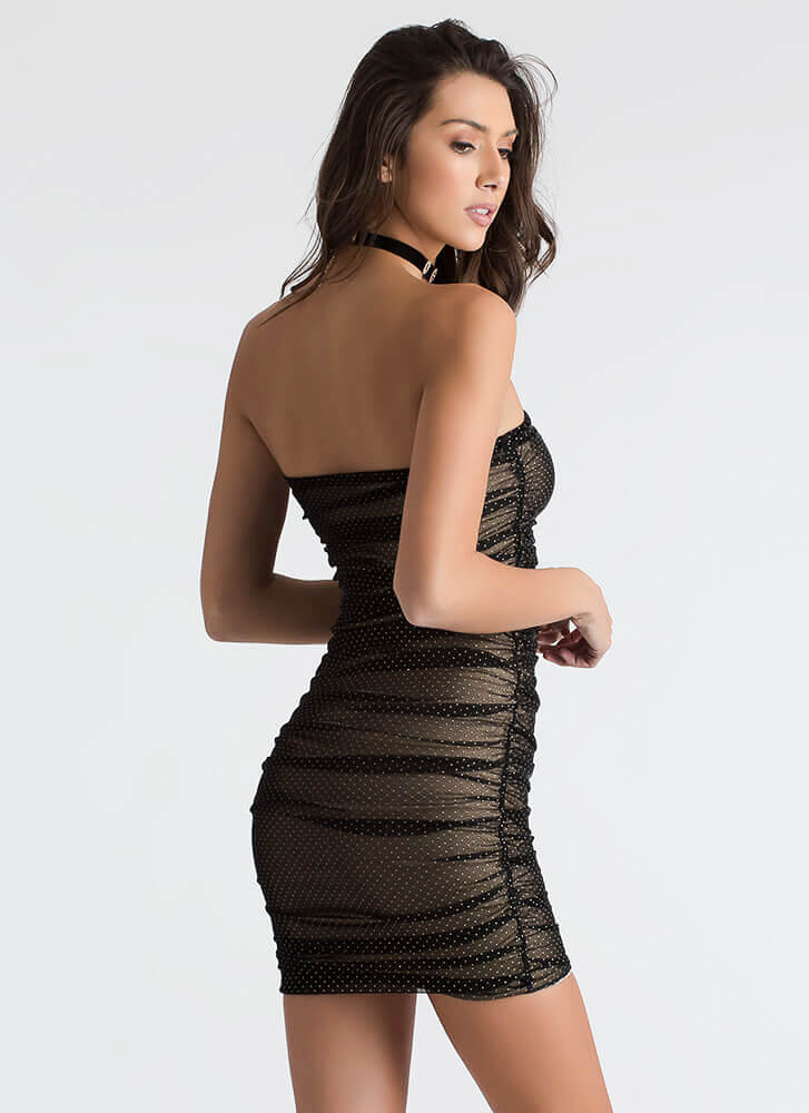 Hot Spots Strapless Ruched Mesh Dress BLACK