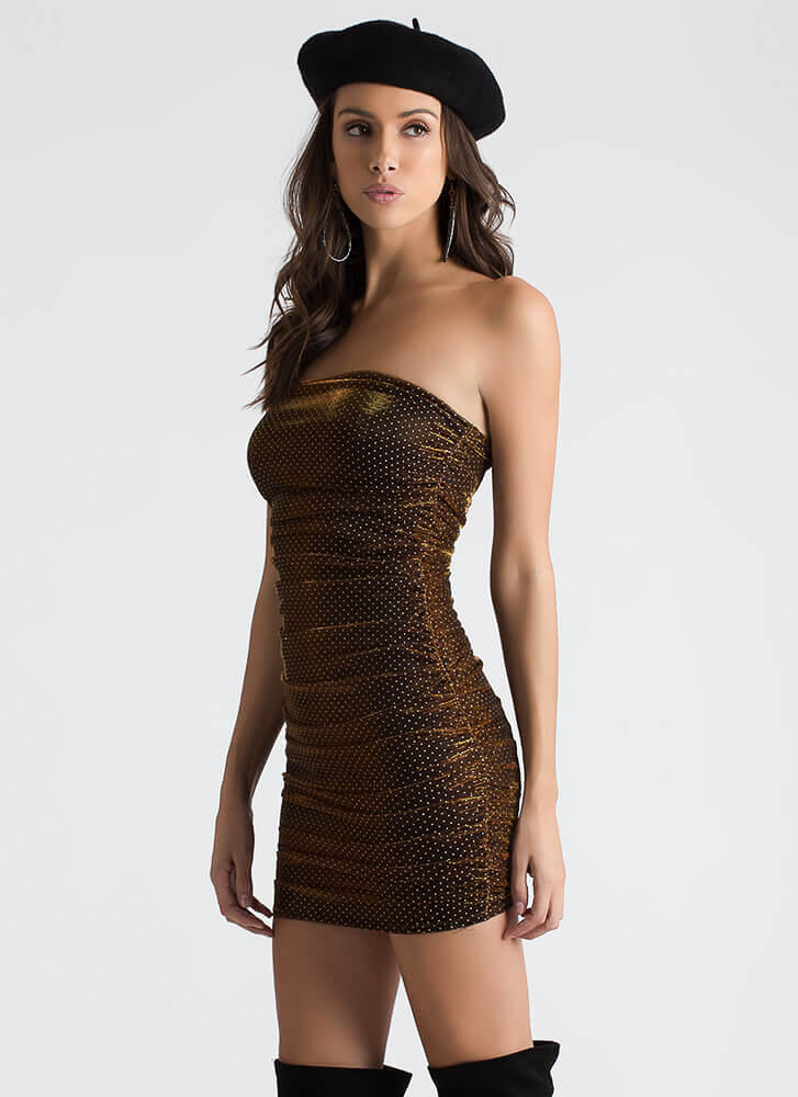 Hot Spots Strapless Ruched Mesh Dress GOLD