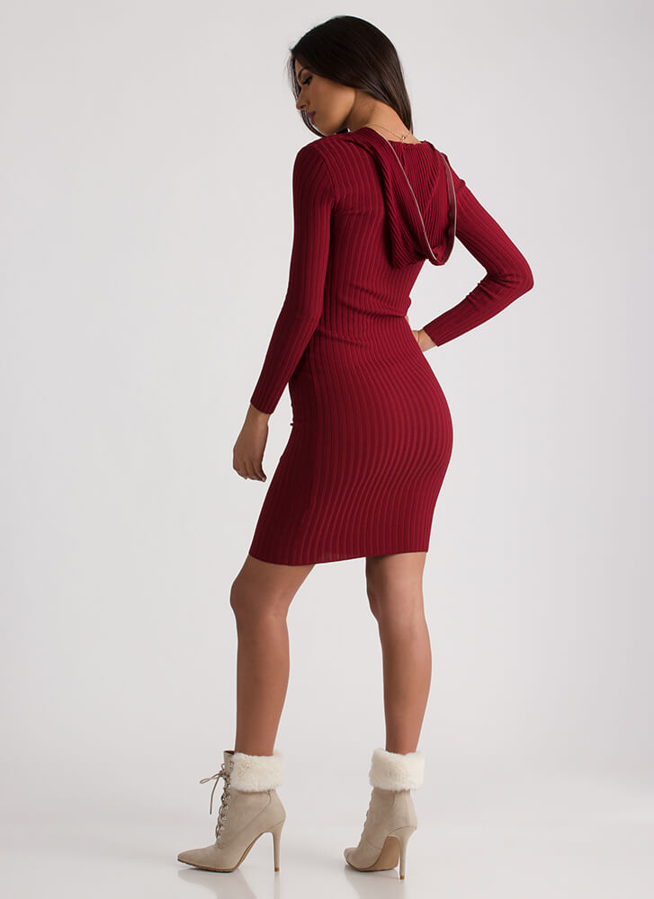 Zip It Good Hooded Rib Knit Dress BURGUNDY
