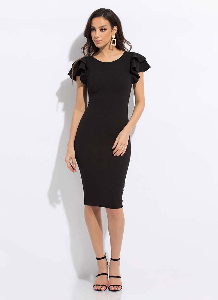Party Favor Ruffle Sleeve Dress BLACK