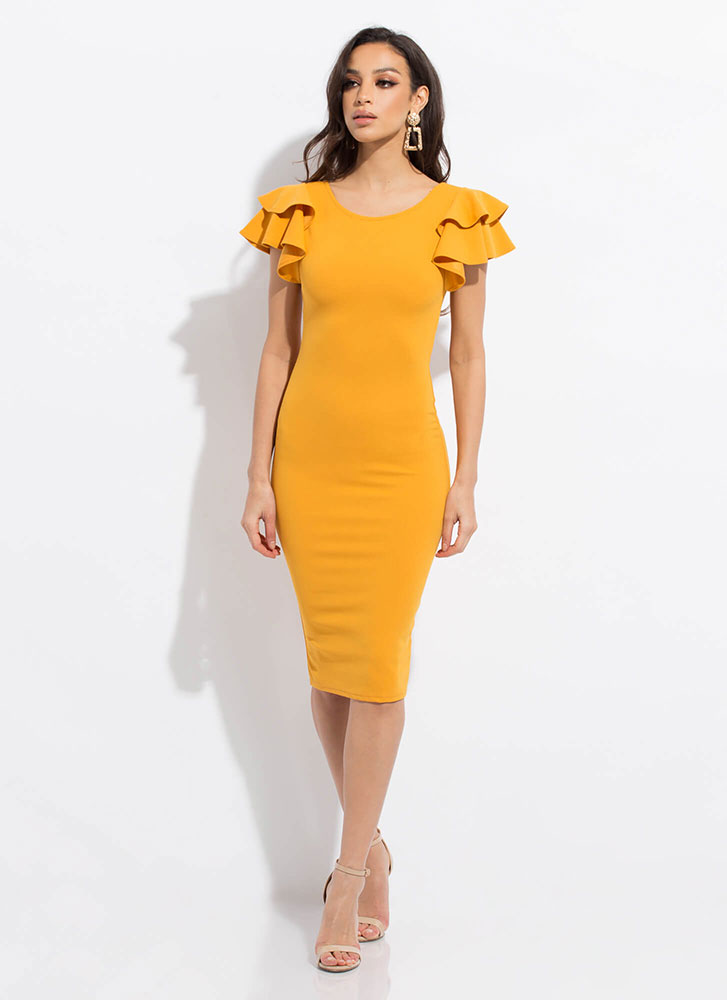 Party Favor Ruffle Sleeve Dress YELLOW