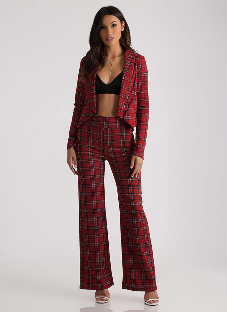 Plaid For Your Health Flyaway Blazer RED (Final Sale)