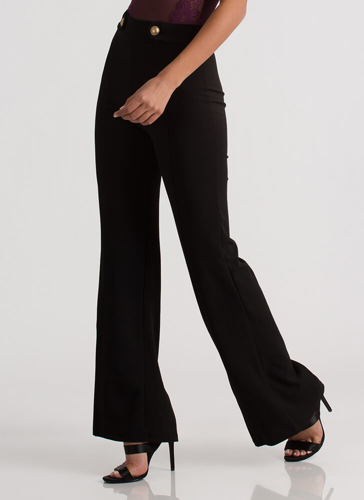 Sophisticated Flare Wide-Leg Pants BLACK