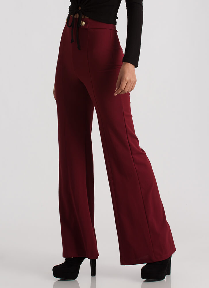 Sophisticated Flare Wide-Leg Pants BURGUNDY