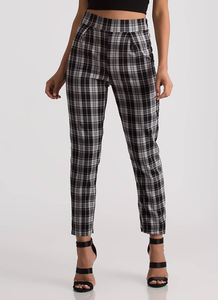 You're A Plaid Influence Tapered Pants BLACK