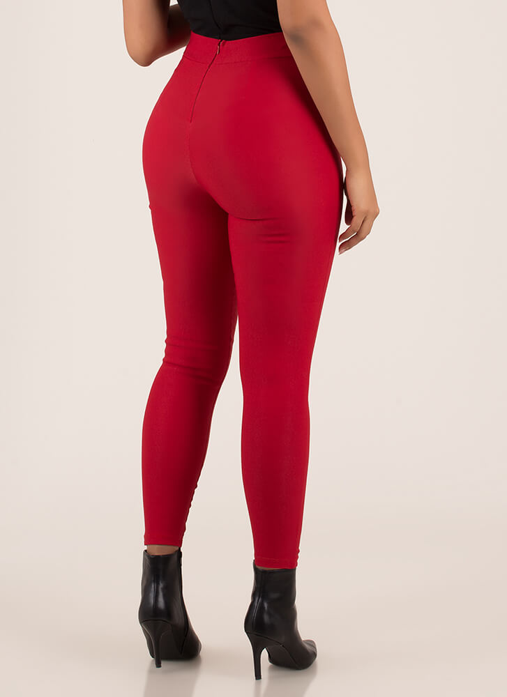 Present Enough Cut-Out Bow Strap Pants RED