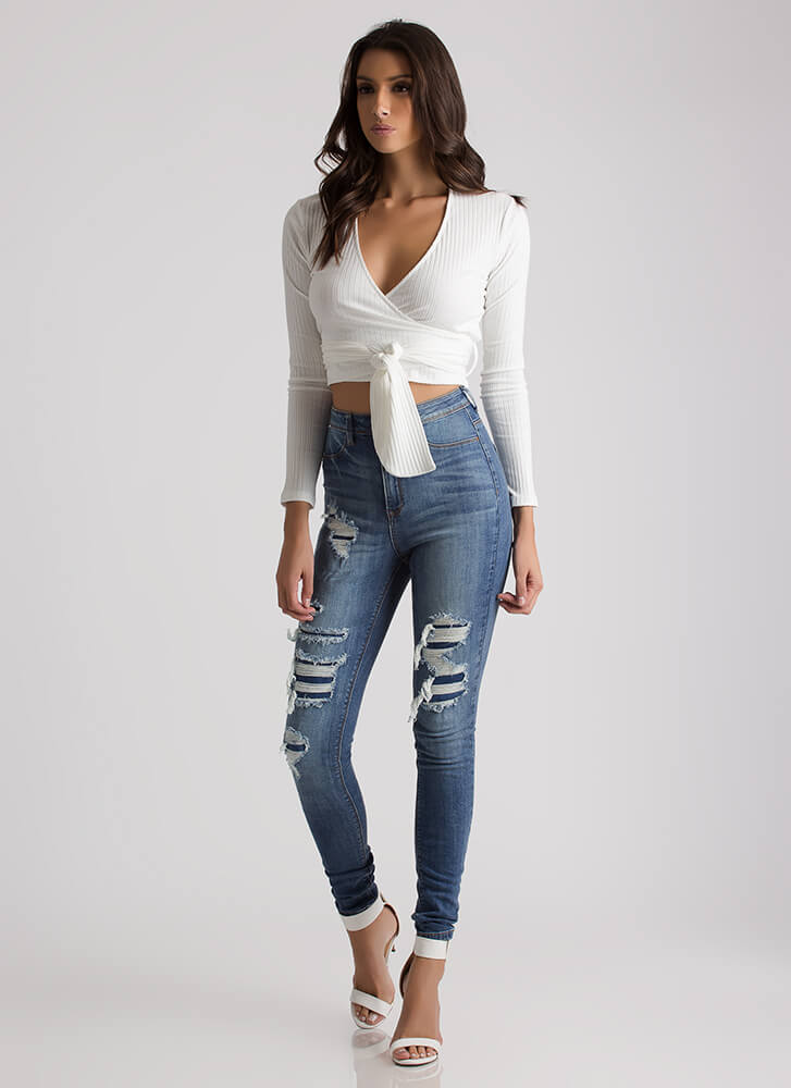 A Little Wrapped Up Ribbed Crop Top WHITE
