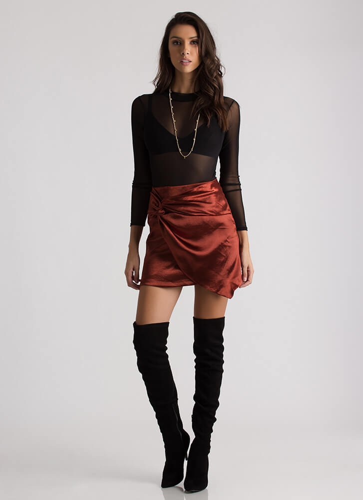 Knot My Intention Satin Faux Wrap Skirt COPPER