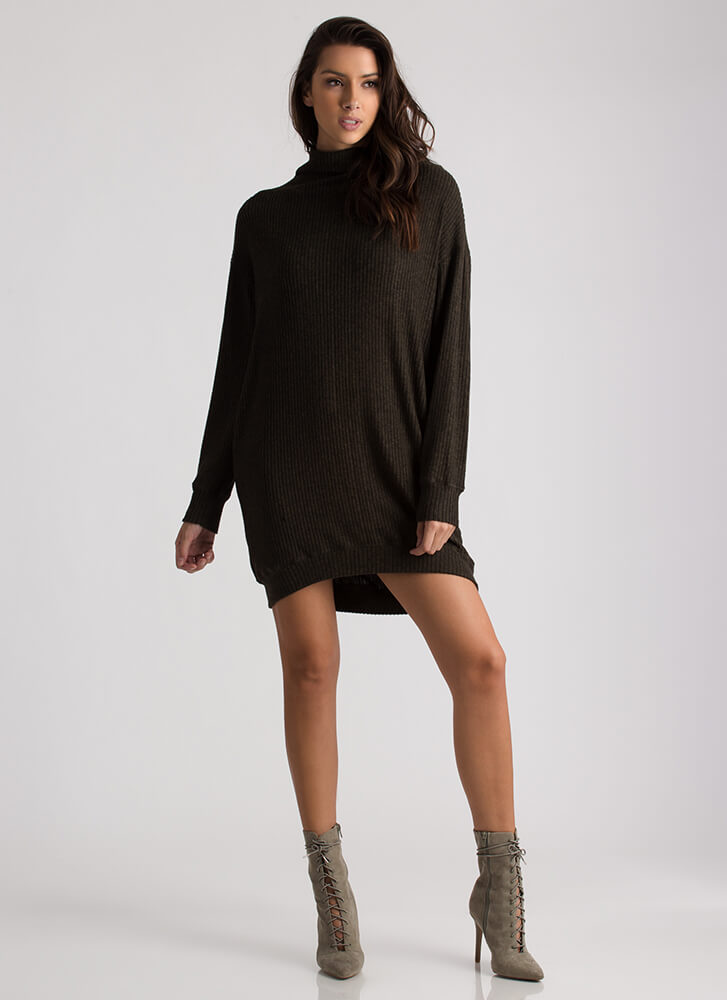 You're Getting Warm Ribbed Sweater Dress OLIVE