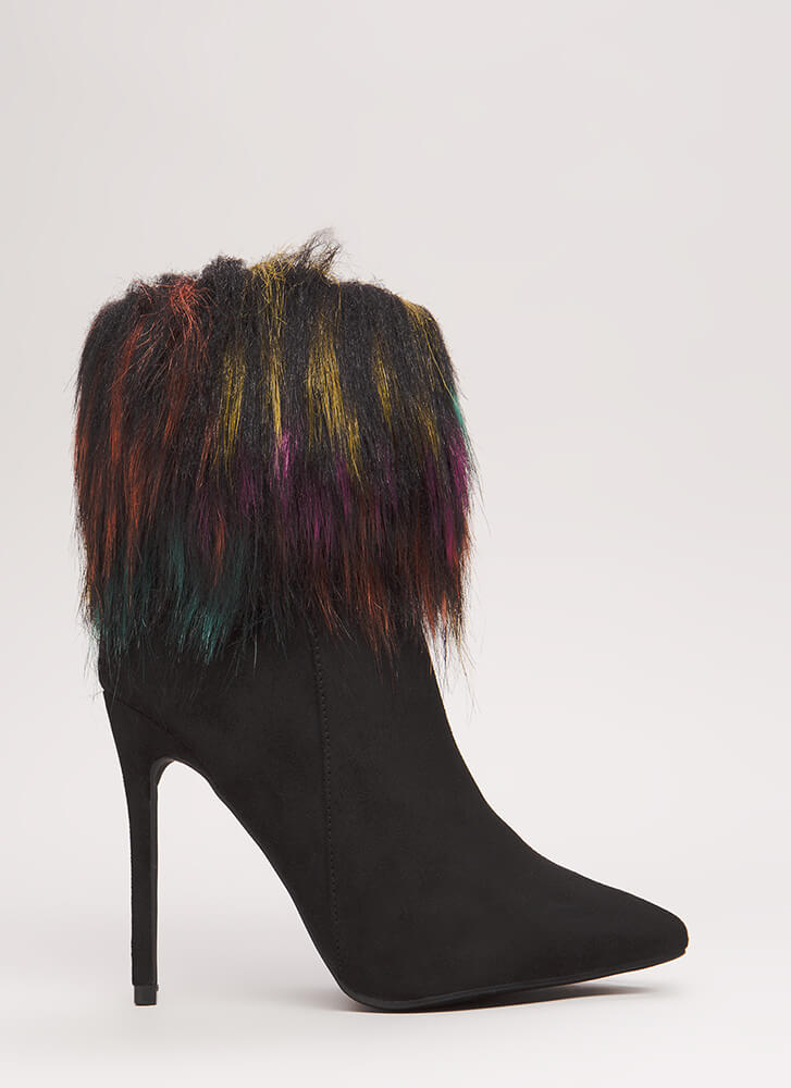 Please Furry Pointy Faux Suede Booties BLACK