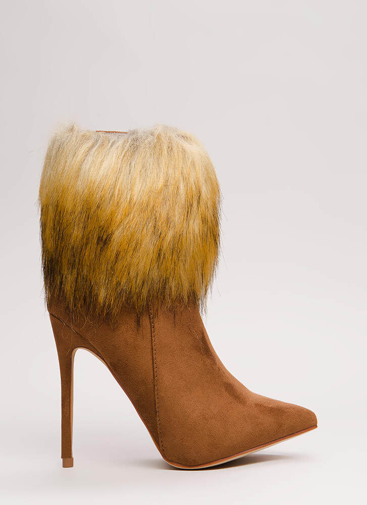 Please Furry Pointy Faux Suede Booties TAN