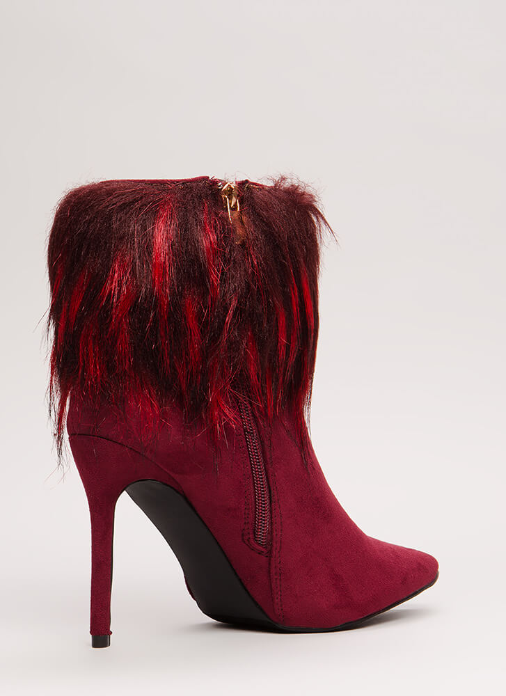Please Furry Pointy Faux Suede Booties WINE