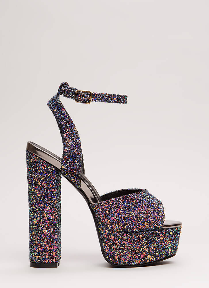 Party Prep Glittery Metallic Platforms FUCHSIA