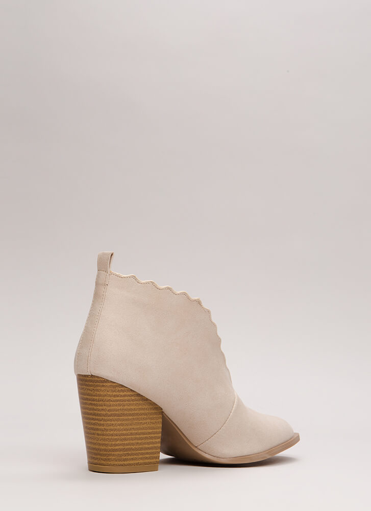 Wave You Hello Block Heel Booties BEIGE