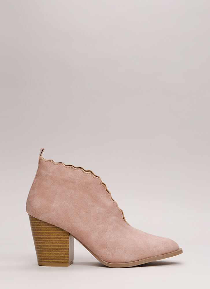 Wave You Hello Block Heel Booties BLUSH