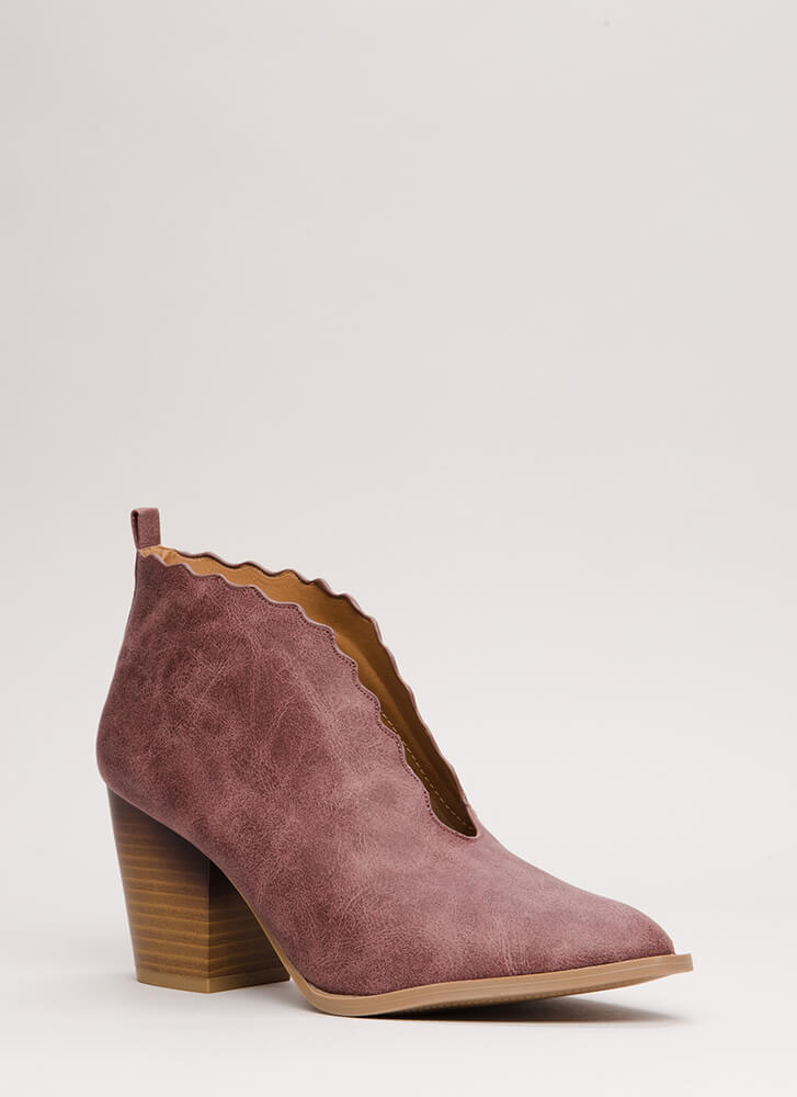 Wave You Hello Block Heel Booties ROSETAUPE