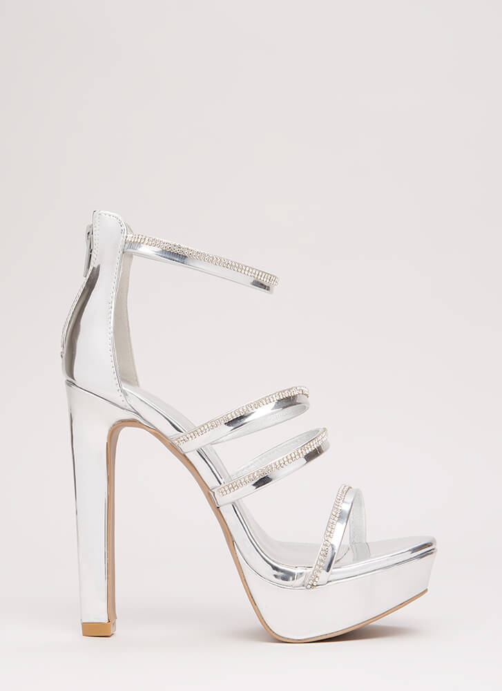 Jewel Up Rhinestone Strap Platforms SILVER