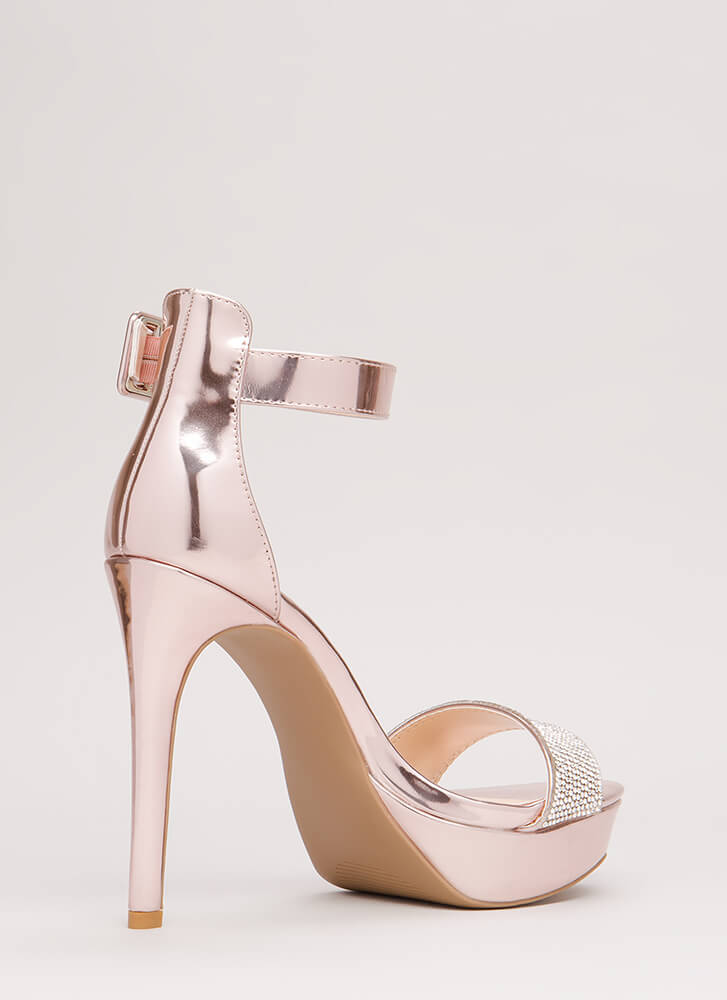 Twinkle Toes Strappy Faux Patent Heels PINK