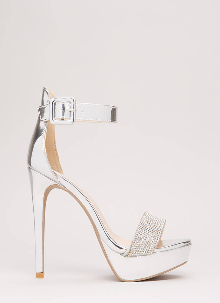 Twinkle Toes Strappy Faux Patent Heels SILVER