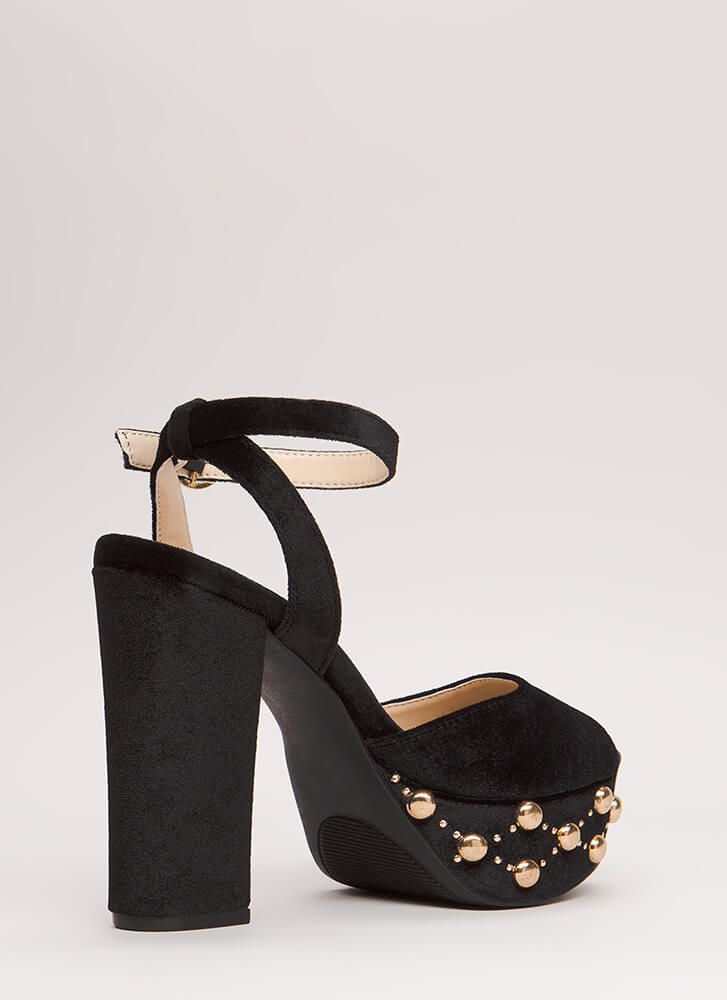 Dome Home Studded Velvet Platforms BLACK (Final Sale)