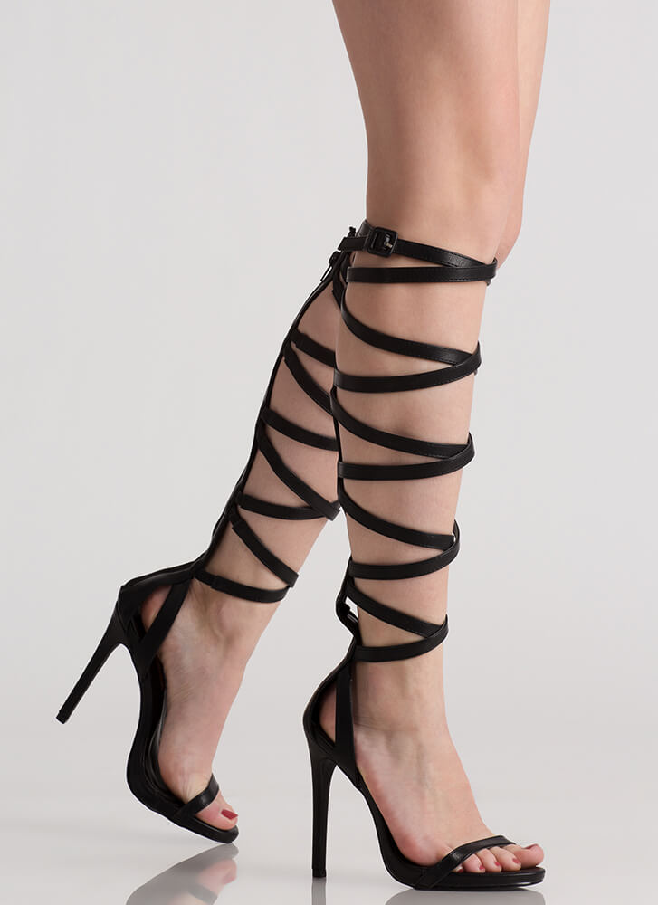 Black Leather Gladiator Heels