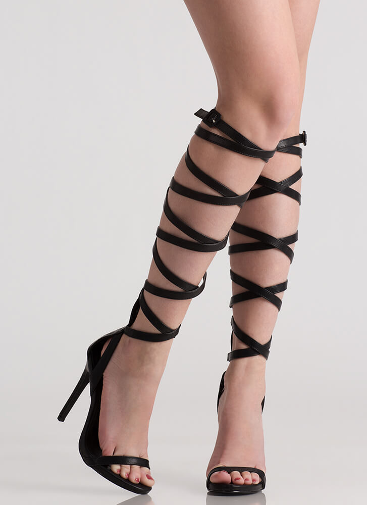 Strap Me In Faux Leather Gladiator Heels BLACK