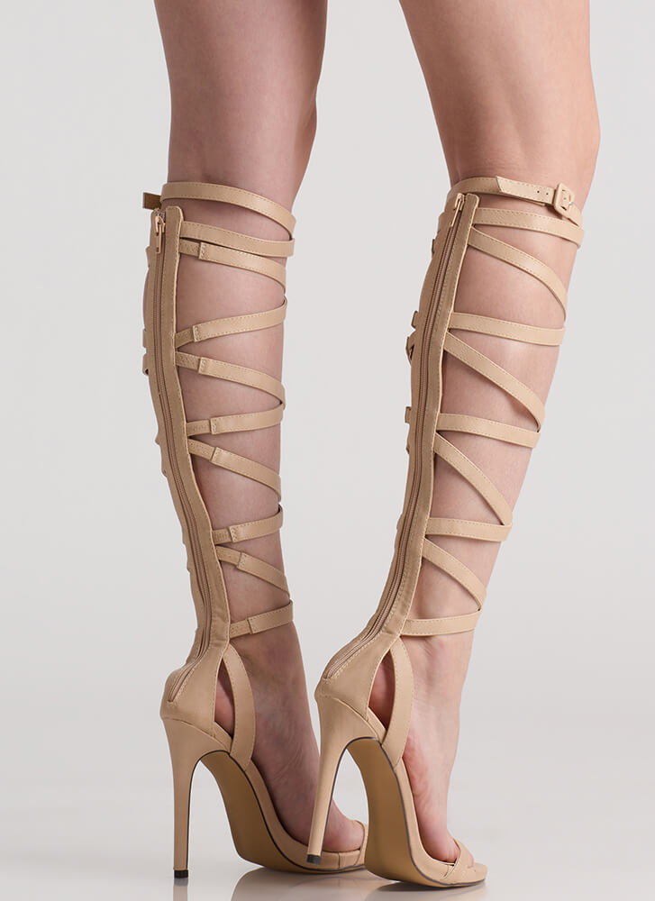 Strap Me In Faux Leather Gladiator Heels NUDE