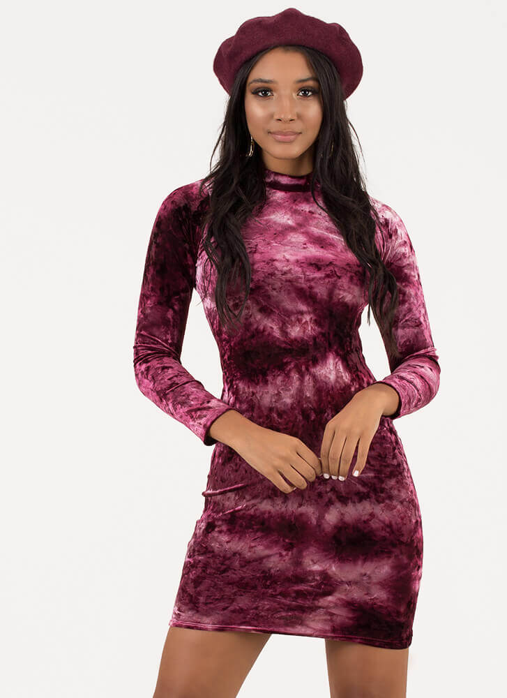 To Dye For Velvet Cut-Out Back Dress BURGUNDY
