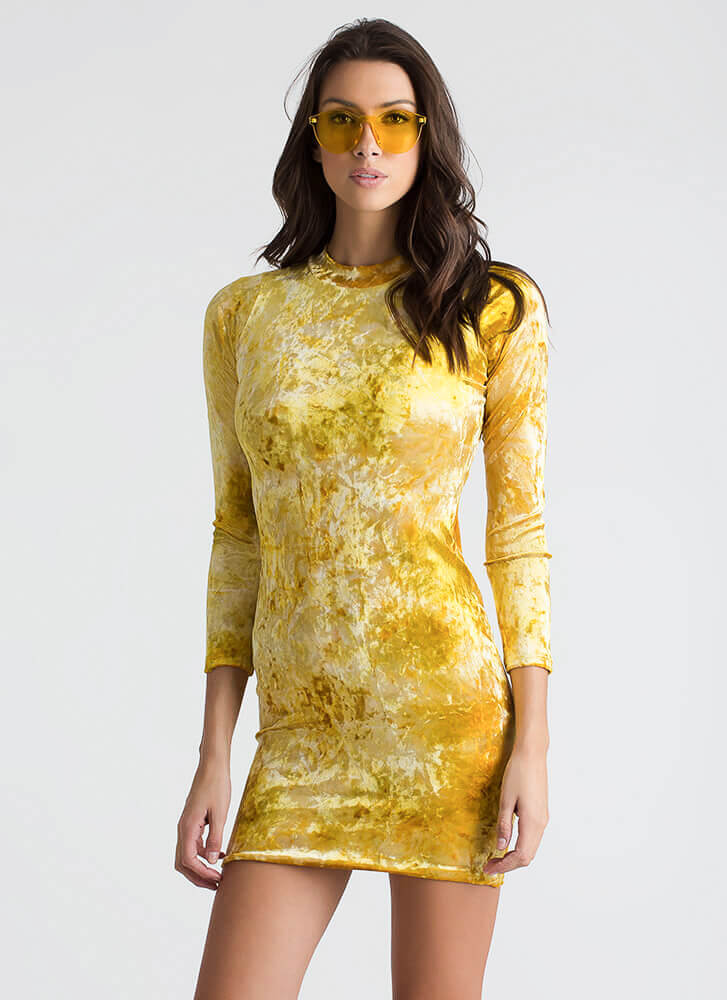 To Dye For Velvet Cut-Out Back Dress MUSTARD