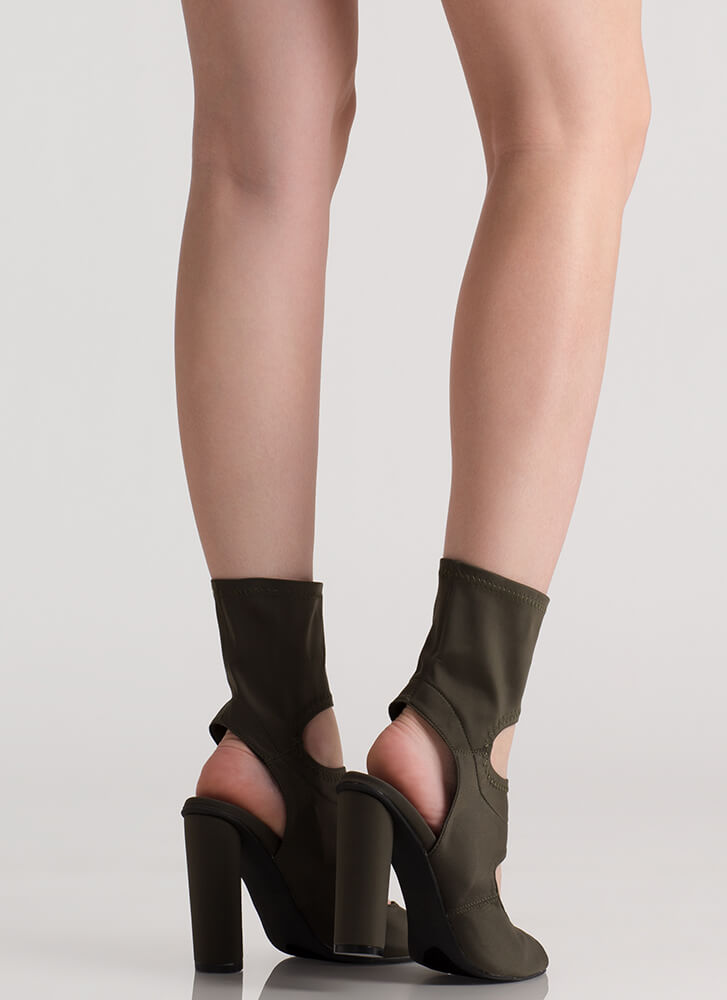 We Cut-Out Here Peep-Toe Booties OLIVE