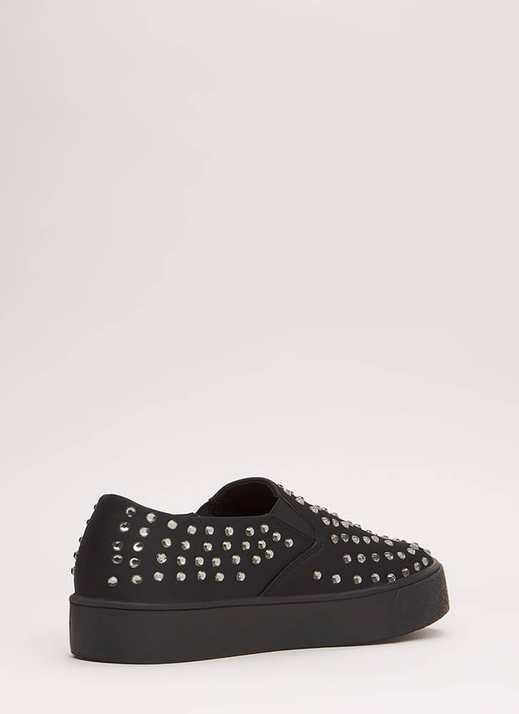 Crystal Clear Jeweled Slip-On Sneakers BLACK