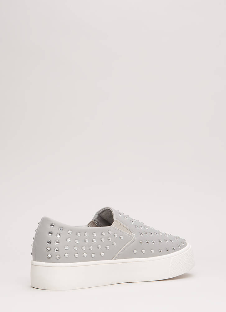 Crystal Clear Jeweled Slip-On Sneakers GREY