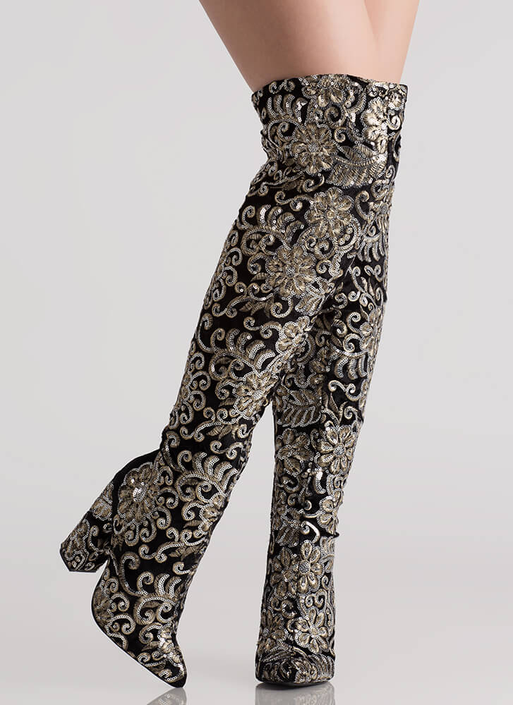 Floral Threads Sequined Thigh-High Boots BLACK