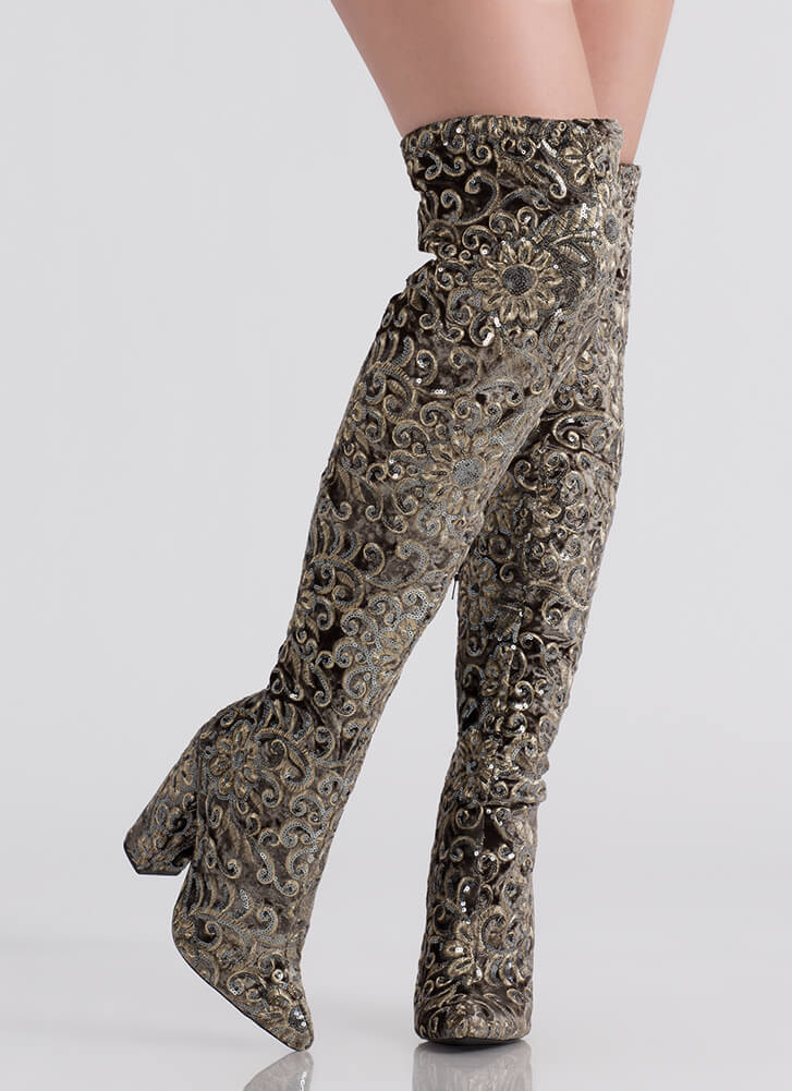 Floral Threads Sequined Thigh-High Boots GREY