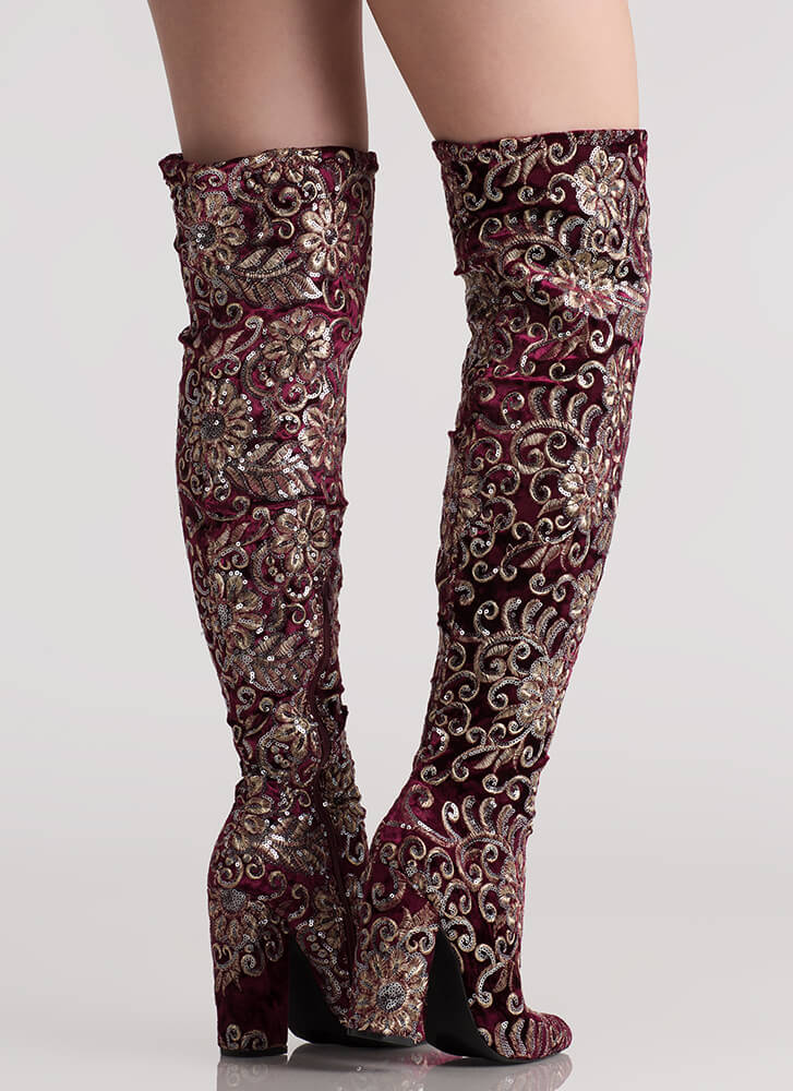 Floral Threads Sequined Thigh-High Boots WINE