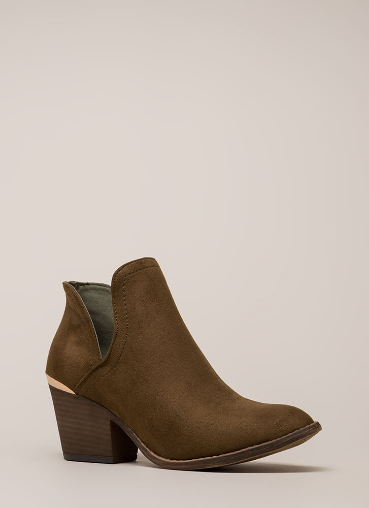 Building Block Heel Notched Booties OLIVE (You Saved $20)