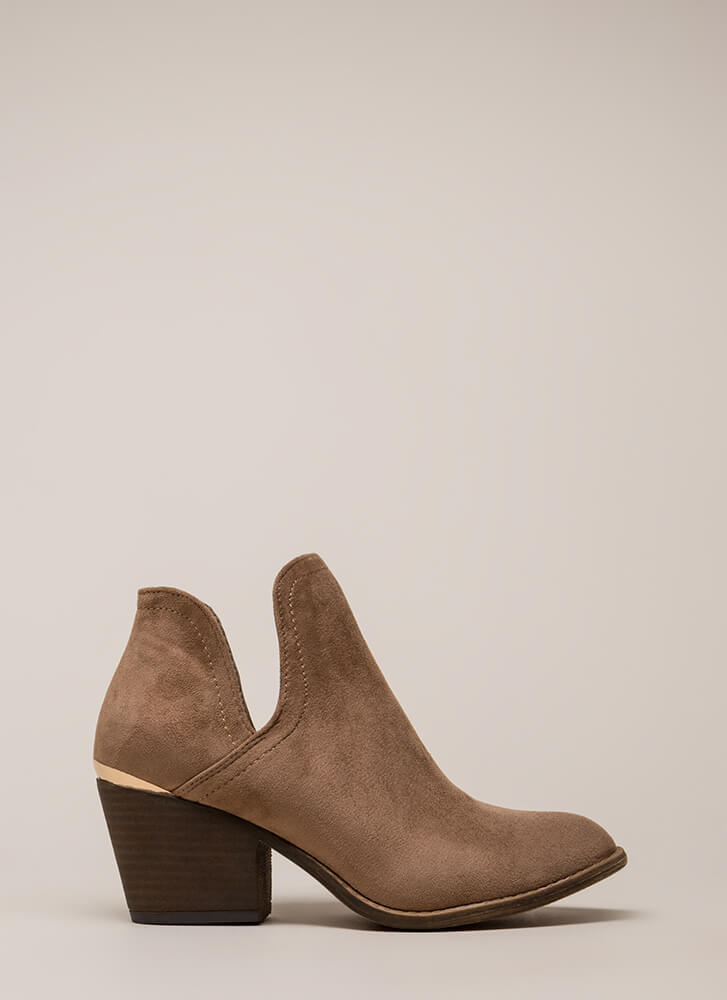 Building Block Heel Notched Booties TAUPE