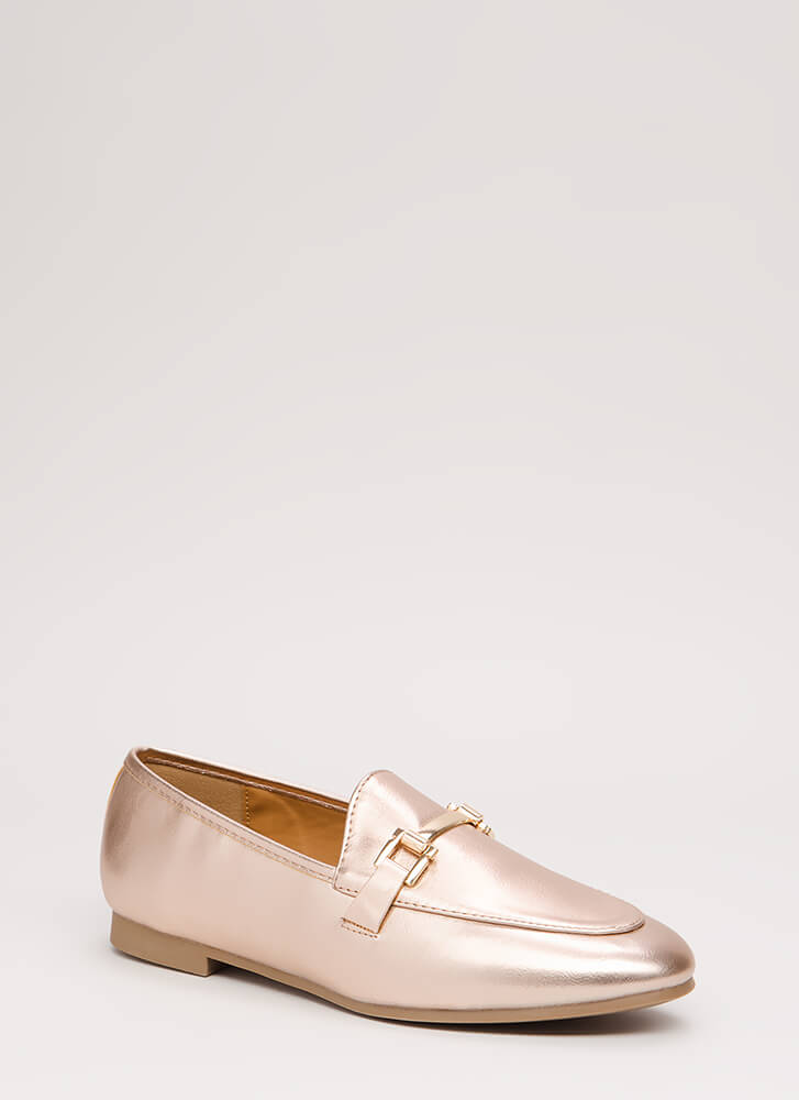 Fashion Editor Faux Leather Loafer Flats ROSEGOLD