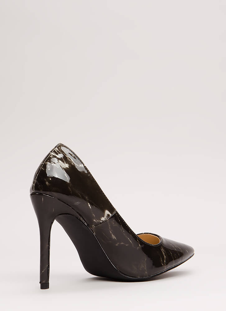 Art Gallery Pointy Marbled Pumps BLACK
