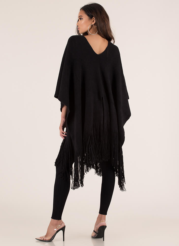 Fringe Fan Knit Poncho Sweater BLACK