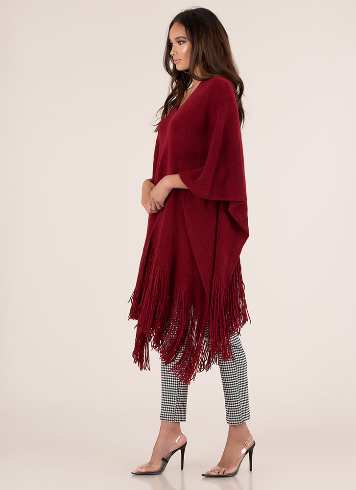 Fringe Fan Knit Poncho Sweater RED