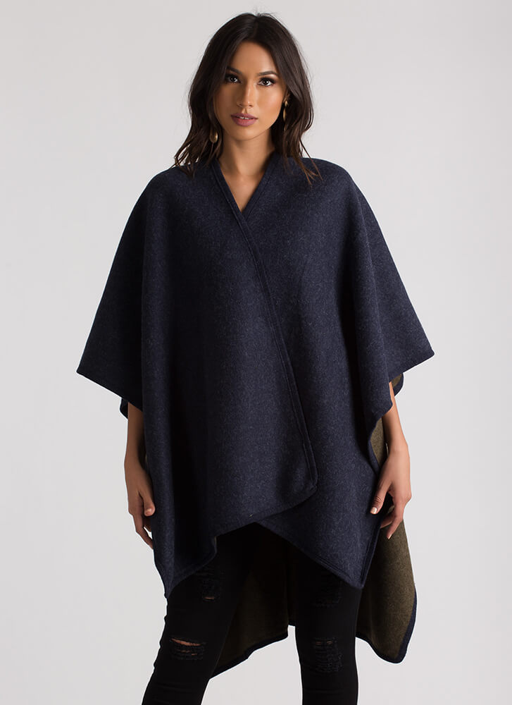 Wrapped In Blankets Flyaway Poncho NAVY
