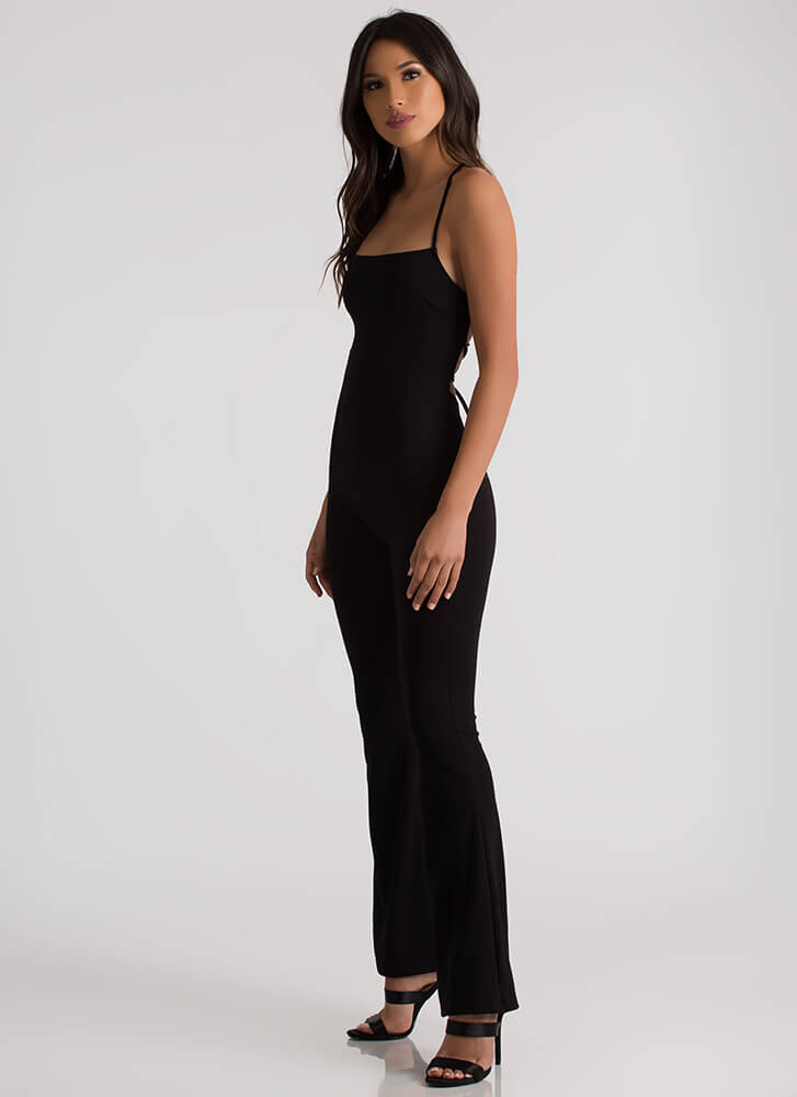Back In The Game Flared Lace-Up Jumpsuit BLACK