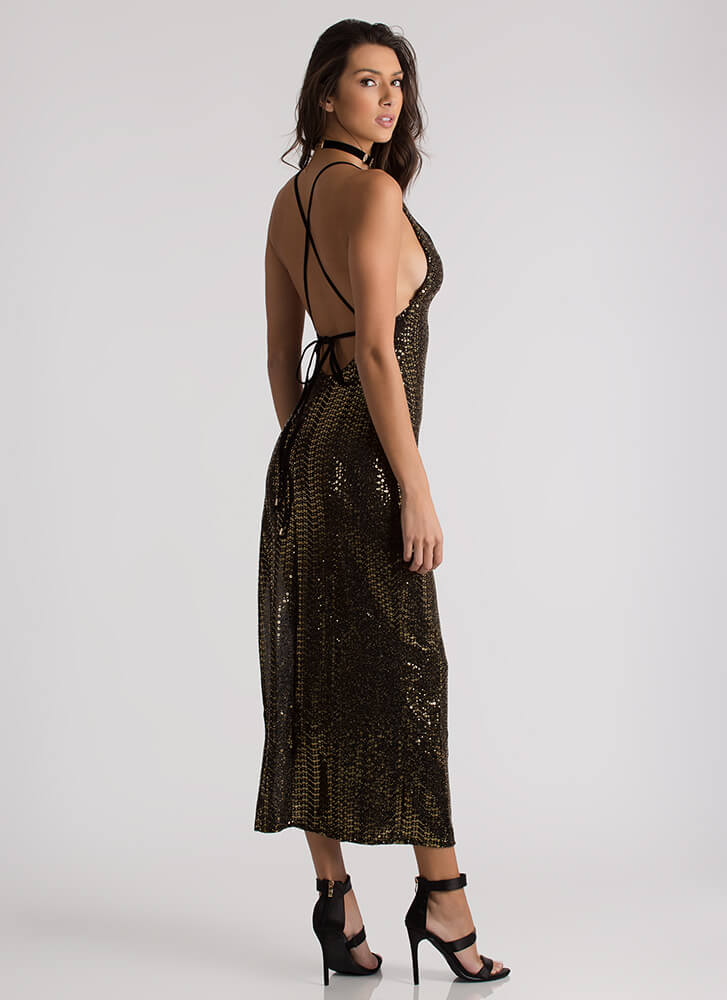 So Much Sparkle Sequined Lace-Back Gown BLACKGOLD
